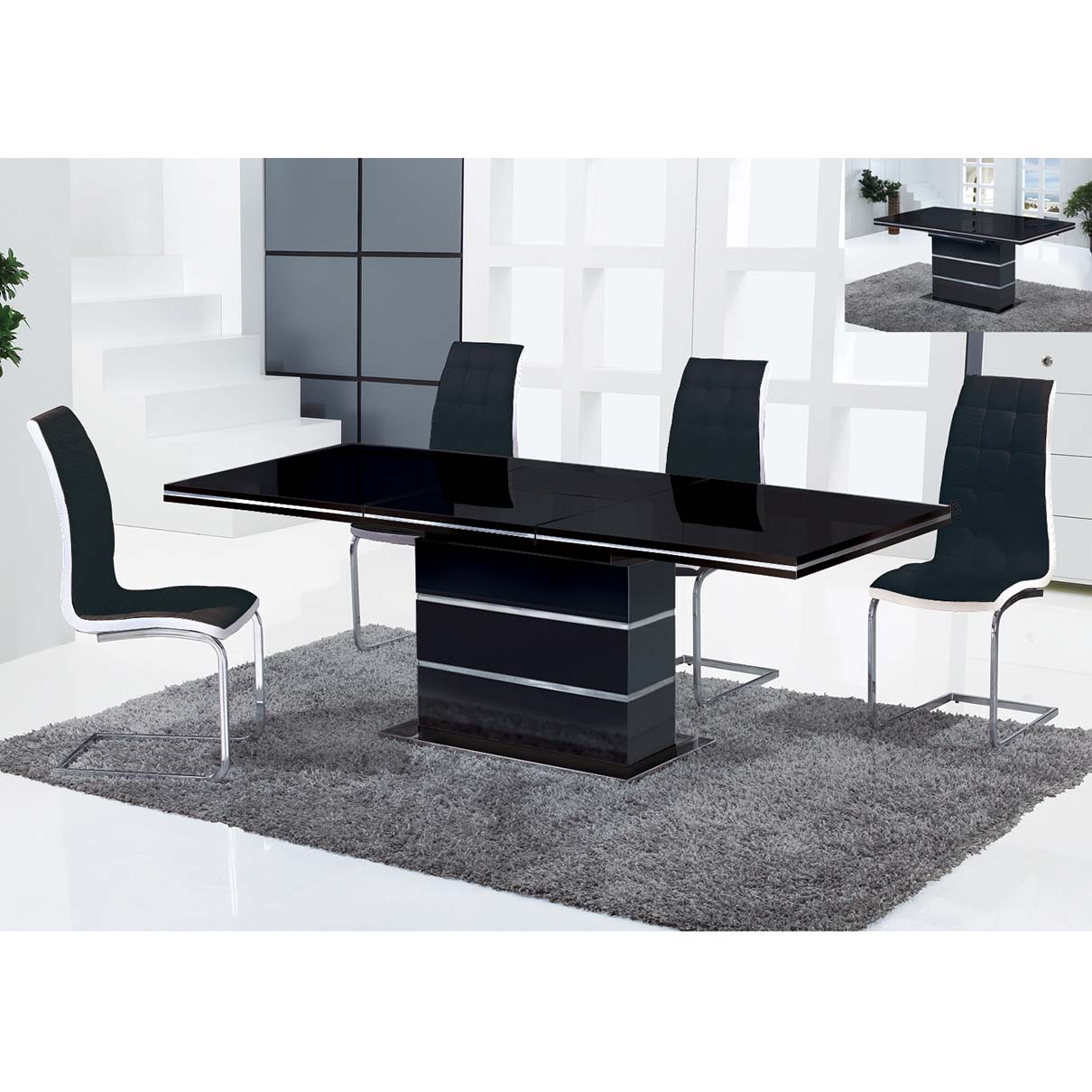 CANNES N115 DINING TABLE -BLK