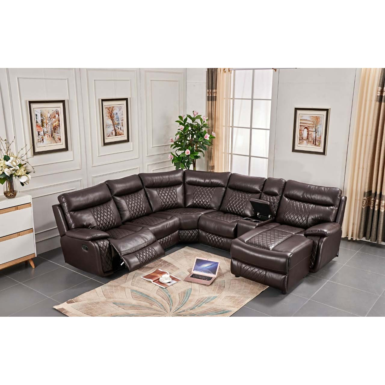 France Diamond Back – Leather Air – 1 Action Recliner With Day Bed